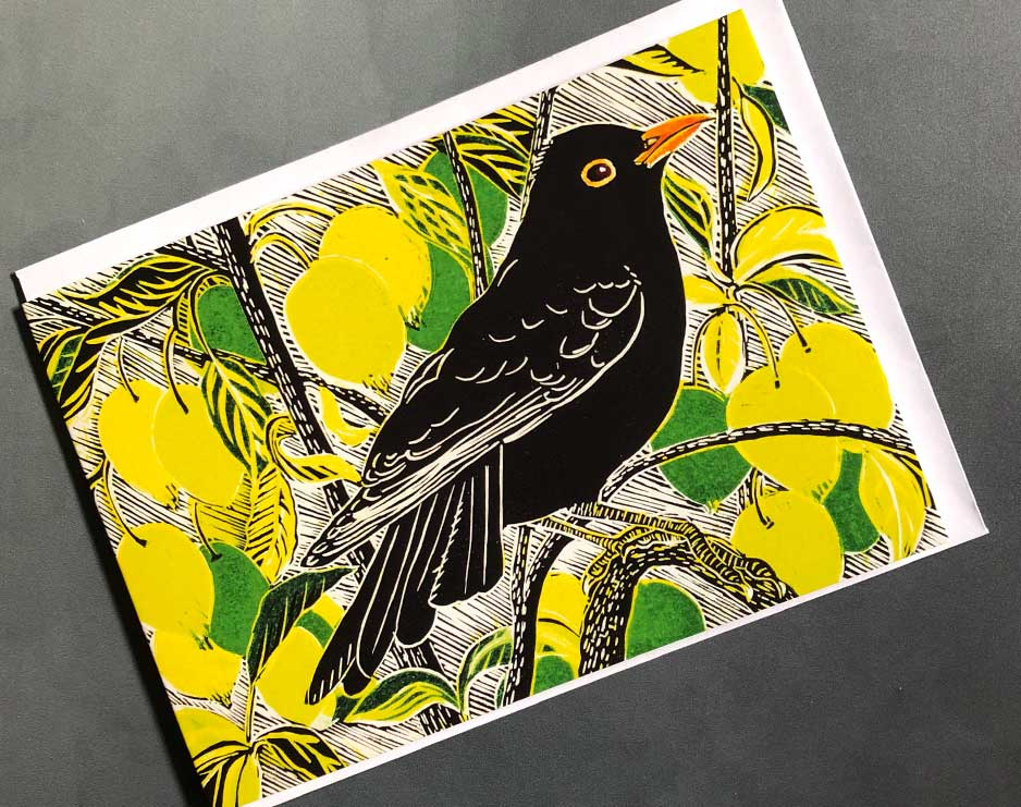 blackbird and crab apples card