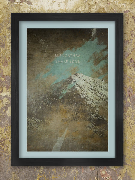 Blencathra poster, dramatic rendition of Blencathra and the iconic 'Sharp Edge' ascent.