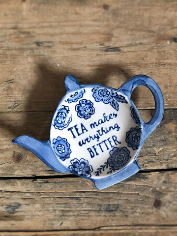 Blue Floral Tea Lovers Tea Bag Dish Kitchen and Dining TNL