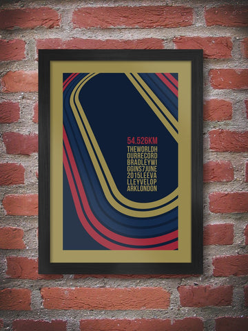 Bradley Wiggins - The World Hour Record - Cycling Poster Print. Wiggins' record breaking ride at the Lea Valley Velopark.