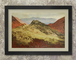 Castle Crag Poster print. Lake District retro vintage
