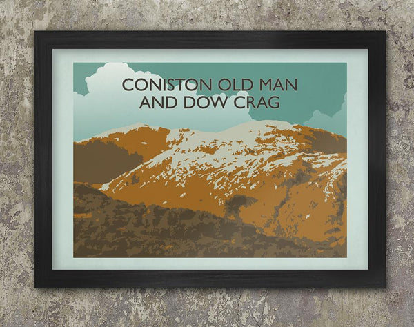 Coniston Old Man retro vintage poster print