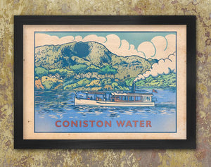 Coniston Water Retro Lake District poster