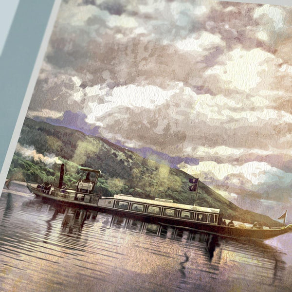 Celebrating beautiful Coniston Water. This retro styled print reflects the Gondola steam trips that can be taken on the lake.