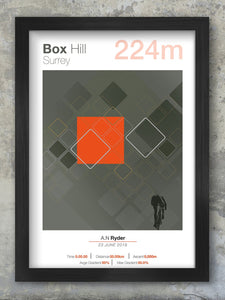 Box Hill Cycling Climbs Poster. The climb itself is one of few to feature continental style hairpins, hence it's nickname 'zig-zag hill'