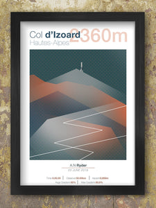 Col D'Izoard Cycling Climbs Poster. It is one of the most famous mountain passes in the history. While it's rightly famous for the part it has played in Tour de France history, the Giro d'Italia has ascended it several times.