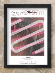 Stelvio Cycling Climbs Poster. Part of the Italian Alps, the Stelvio is the ultimate mountain climb of the Giro d'Italia and is famed for its 48 hairpin turns near the peak of the eastern ramp of the pass.