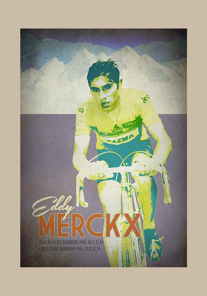 Eddy Merckx Retro cycling poster which highlights is unrivalled record in the Grand Tours. An original artwork from The Northern Line. The image celebrates Eddy's 1969 Tour de france victory when riding for Faema. Eddy of course would go on to win multiple Grand Tour and one-day classics victories.