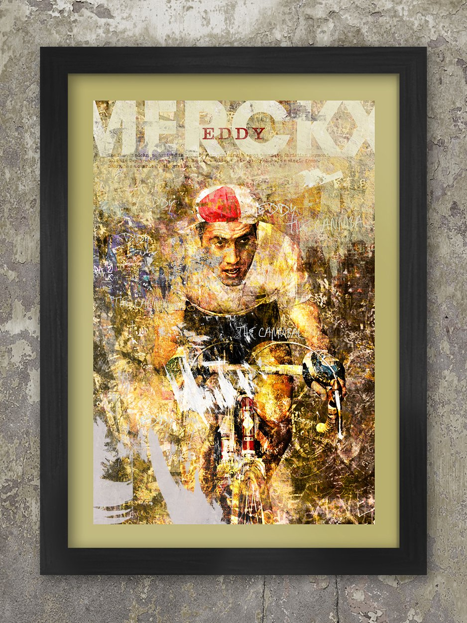 Eddy Merckx- The Cannibal Cycling Poster. Grunge style impression of the great Belgian cyclist