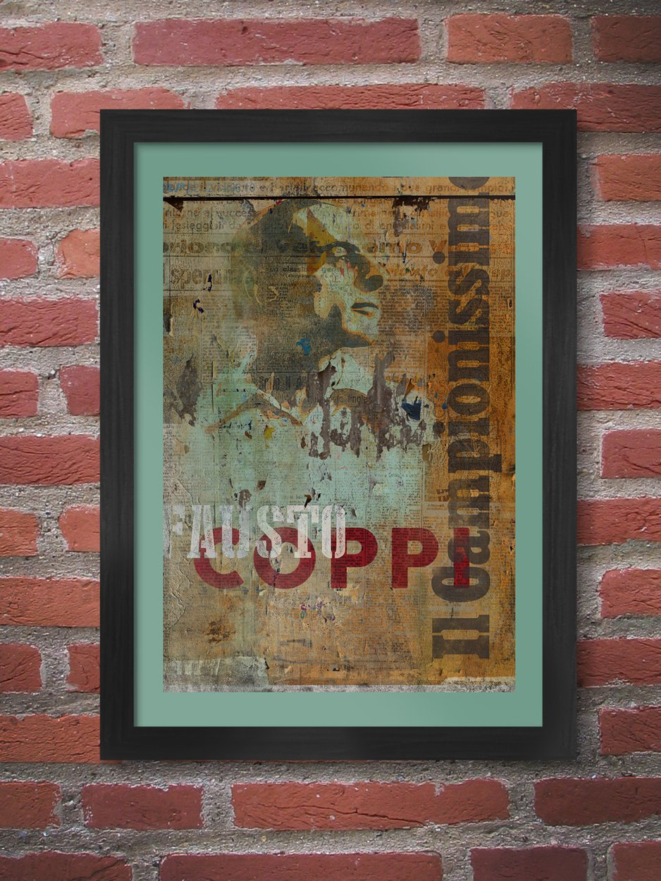 Fausto Coppi Grunge cycling poster print