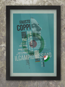 Fausto Coppi Palmarès Cycling Poster Print. Produced in the style of the old Bauhaus and Constructivist posters, The Fausto Coppi Palmarès - displays the achievements of the legendary Italian cyclist. There's also a biography paragraph of his career. Part of a series which includes Gino Bartali, Fabian Cancellara, Alberto Contador and Eddy Merckx.