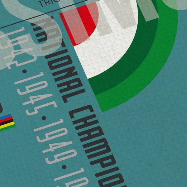 TheFausto Coppi Palmarès Cycling Poster Print. Produced in the style of the old Bauhaus and Constructivist posters, The Fausto Coppi Palmarès - displays the achievements of the legendary Italian cyclist. There's also a biography paragraph of his career. Part of a series which includes Gino Bartali, Fabian Cancellara, Alberto Contador and Eddy Merckx.