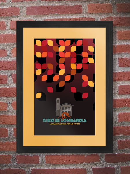 Giro di Lombardia Poster. The race of the Falling leaves, the classic final Monument of the cycling season. The great Fausto Coppi has won the race most times with 5 wins. Won twice by Vincenzo Nibali and Eddy Merckx. Classica delle doglike morte. In recent times the race is has been referred to as Il Lombardia.