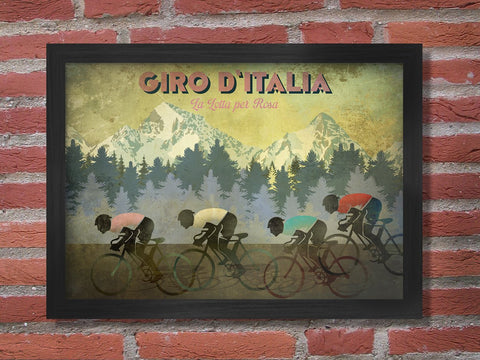 Giro D'italia Retro Styled Cycling Poster Print. Reflecting the characteristics of the great race when the Giro hits the mountains. The cyclist's shirts show the classification criteria including the famous Maglia Rosa - The pink jersey.