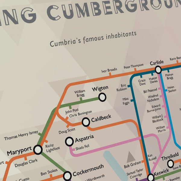 Famous Cumbrians modelled on the London Tube map.