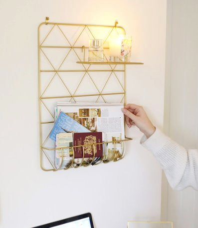 Gold Metal Storage Rack with Shelf classic homeware Lisa Angel