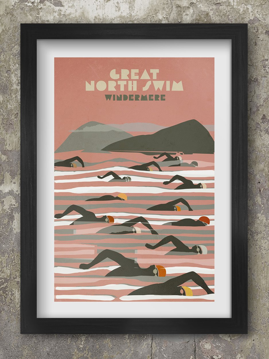 Great North Swim - Windermere. Poster celebrating the great open water event in The Lake District.
