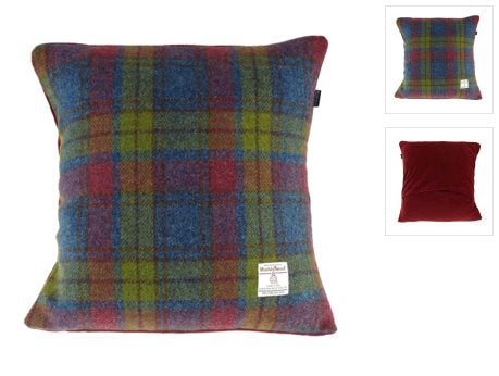 Harris Tweed Cushion with Velvet Back classic homeware The Northern Line MultiColour