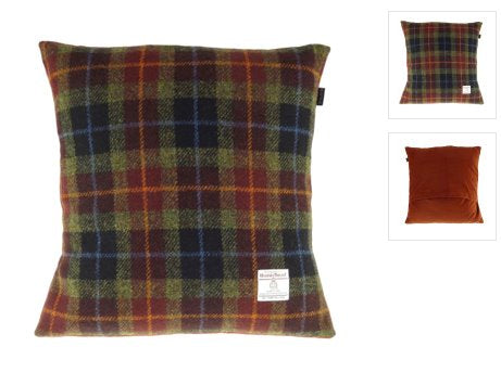 Harris Tweed Cushion with Velvet Back classic homeware The Northern Line Rust