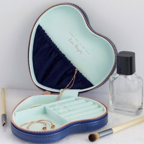 blue heart shape jewellery case
