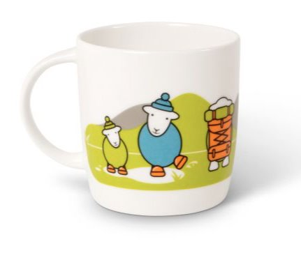 Herdy sheep mug, three cartoon sheep in the Lake District