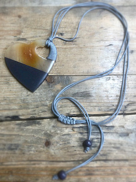 Horn & Resin Heart Shape Adjustable Necklace Gift The Northern Line grey