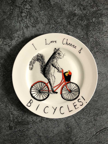 I love cheese and bicycles plate