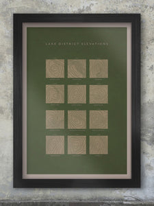 Lake District Elevations - Fells Poster Green. An artistic impression of the contour lines from the Ordnance Survey maps the poster features 12 of the iconic fells of the Lake District.