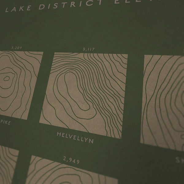 Lakes inspired poster. An artistic impression of the contour lines from the Ordnance Survey maps the poster features 12 of the iconic fells of the Lake District.