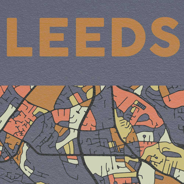 Leeds map colourful poster print