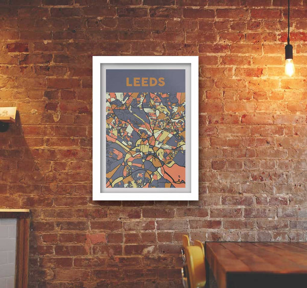 Colourful poster map of Leeds