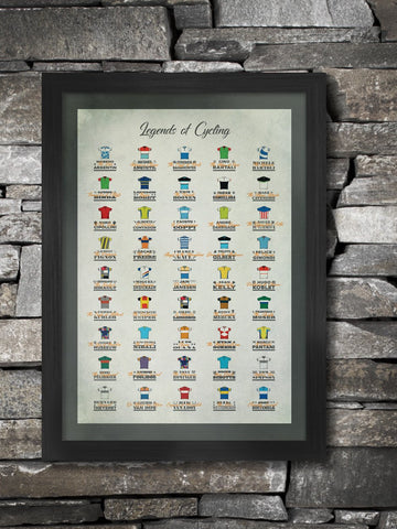Legends of Cycling Poster Print - for lovers of retro cycling jerseys and the great nicknames that have emerged in cycling. Includes great shirts of Molteni, Peugeot and Mapei as well great riders including Eddy Merckx, Mark Cavendish, Alberto Contador, Mario Cipollini and Fausto Coppi
