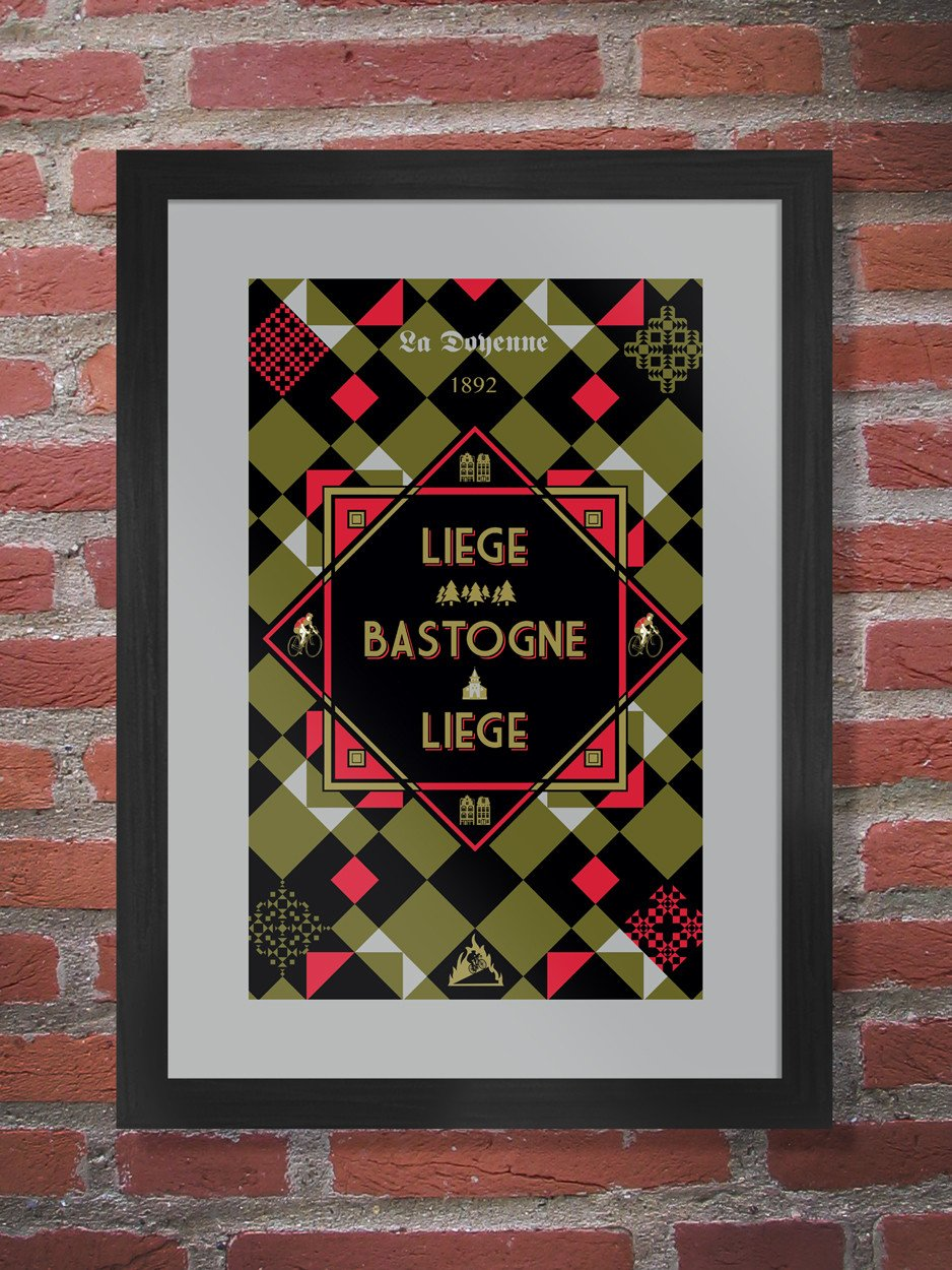 Liège–Bastogne–Liège Cycling Poster Print - The Classics. The oldest of the one-day classics, the race traditionally favours the punchy climbers. Raced since 1892. It is considered one of the most arduous one-day cycling events in the world because of its length and demanding course