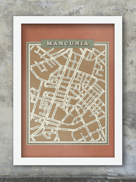 Mancunia - Famous Names Street Map Print