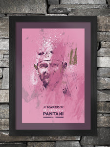 Marco Pantani Giro Pink Poster. One of the great characters and climbers of cycling. Winner of both the Tour de France and Giro d'Italia. The Pirate has become a legend in cycling and many remember his duels with Lance Armstrong during the Tour.