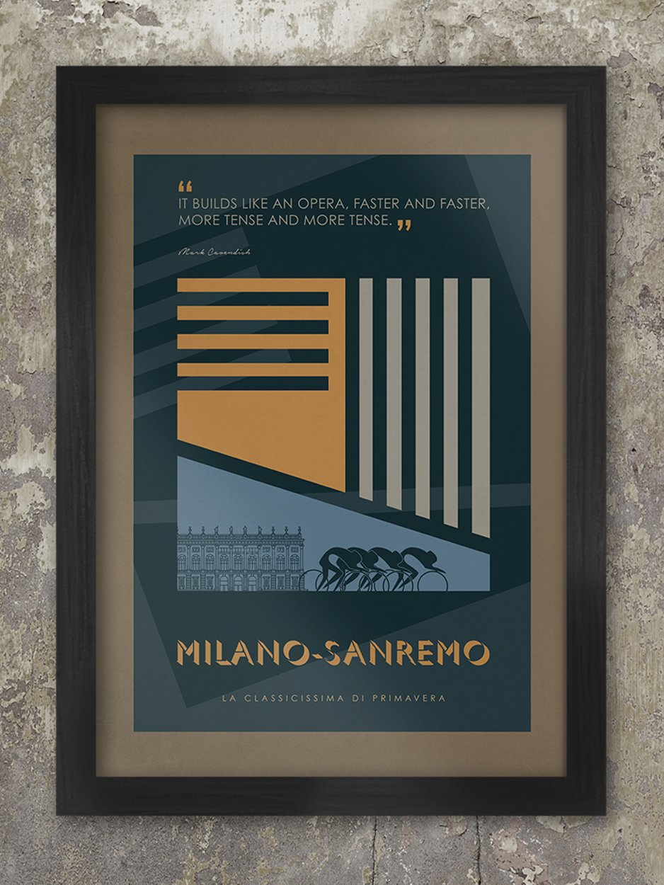 Milano-Sanremo Cycling Poster Print - The Monuments. Milano-Sanremo is the 'Spring Classic' and the longest of the five Monuments with a current distance of 298km. The design reflects the fact that its known as a sprinters classic. Mainly flat and was conceived as a straightforward line from Milan to Sanremo on the Italian Riviera. The poster includes a quote from 2009 winner - Mark Cavendish. One of a series of five which also includes Paris-Roubaix, Tour of Flanders, Liege-Bastogne-Liege and Lombardia.