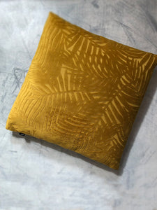 Mustard Palm Leaf Velvet Cushion classic homeware The Northern Line