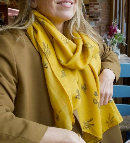 Mustard Yellow Bee Designs Scarf Clothing Lisa Angel