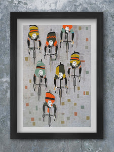Over The Cobbles - Cycling Poster print. Retro style cycling poster
