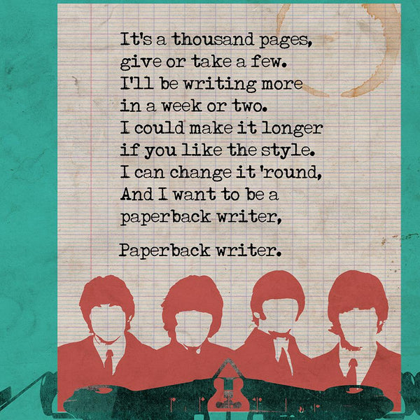 Paperback Writer - Beatles Book Jacket Print. Inspired by the old retro Penguin book covers - this celebrates The Beatles 1966 single