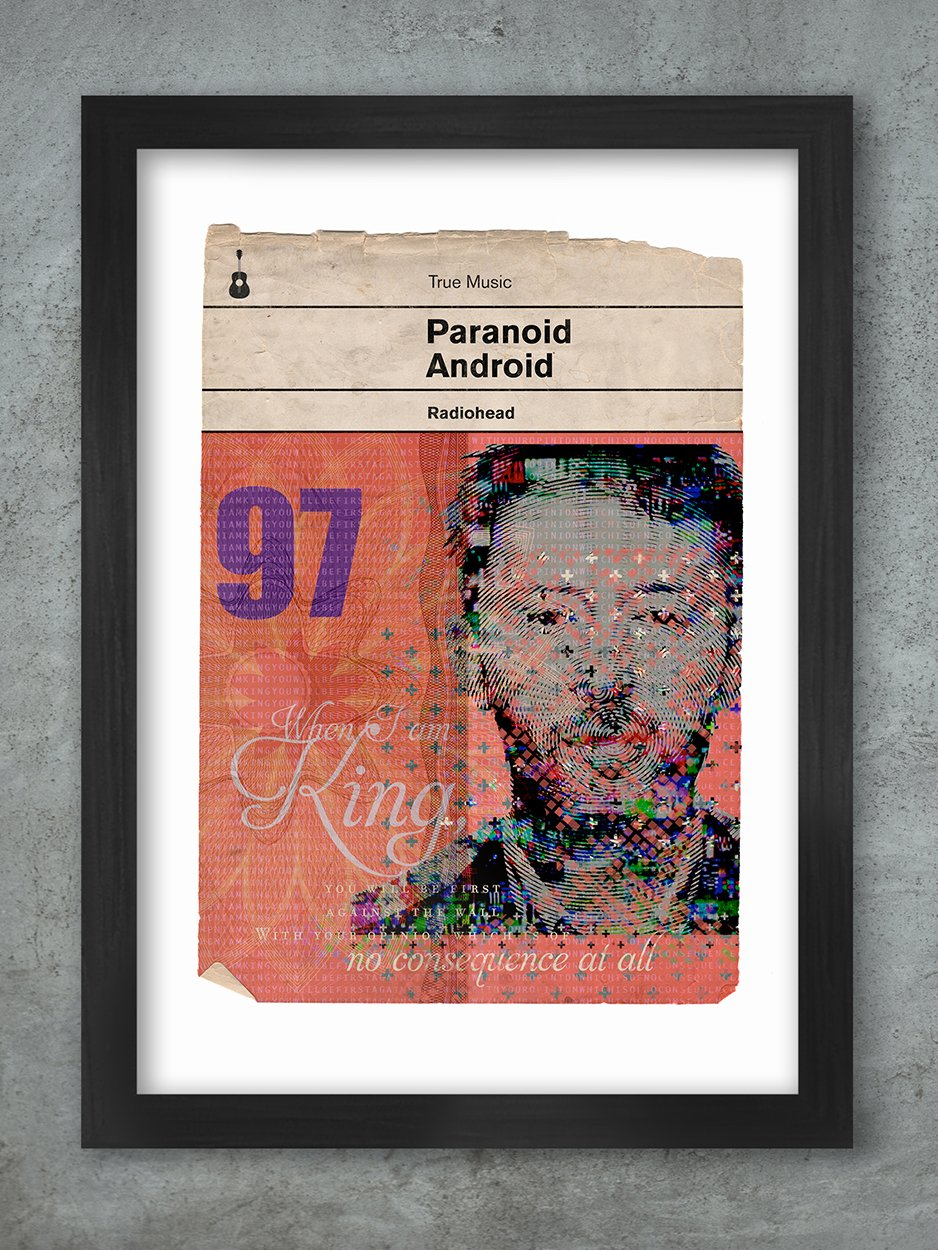 Paranoid Android Radiohead Book Jacket style Print
