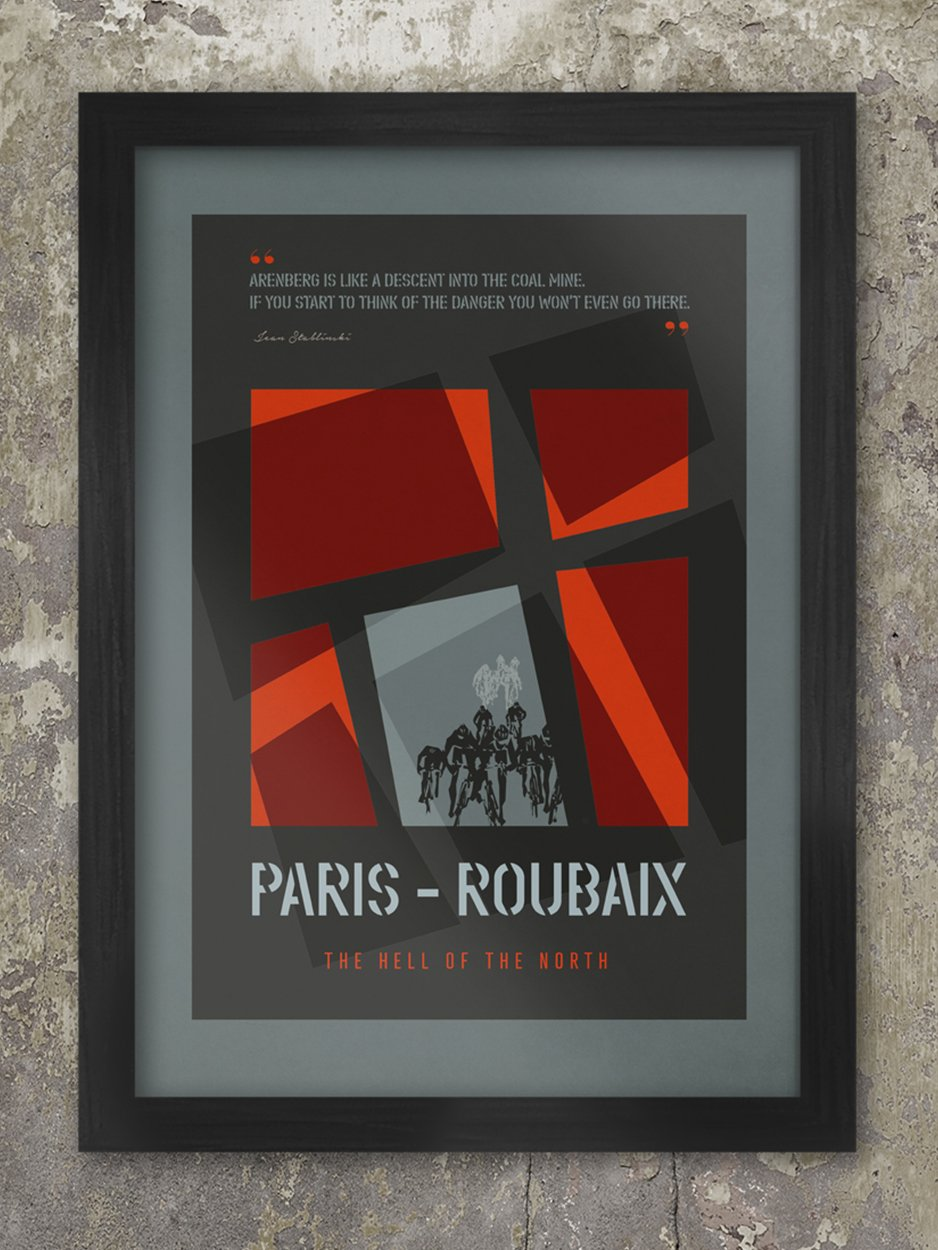 Paris Roubaix Cycling Poster Print - Dark grey and red stylised cobbled poster and featuring the classic phrase 'Hell of the North'. Quote from Jean Stablinski