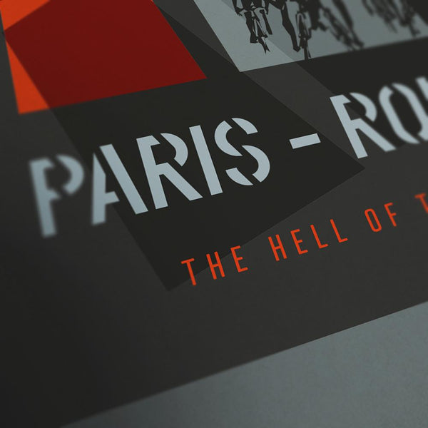 Paris Roubaix Cycling Poster Print - The Monuments. The iconic race christened 'The Hell of the North' when the course was reviewed post Great War when the ravages of the conflict had left such an indelible mark of destruction. These days that 'Hell' is reflected by the sheer demands of the race and the potential for puncture, mechanical failures and the energy sapping pavé sections. It's a race that demands so much form the cyclists and captivates so many fans.