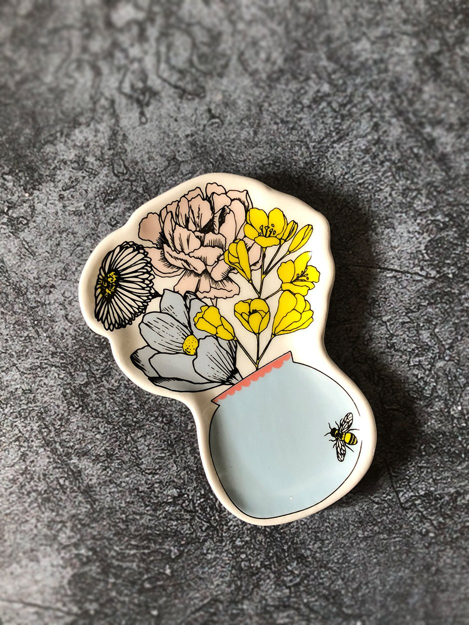 Posy of Flowers Mini Trinket Tray Gift Lisa Angel