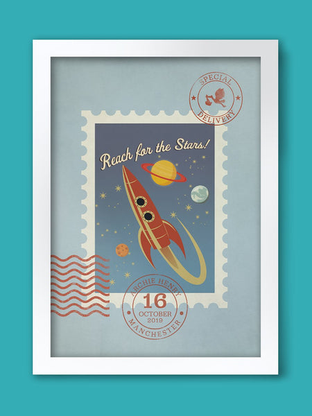 Reach for the Stars (Special Delivery) - Baby/child Birth Date Personalised Poster Print Posters The Northern Line