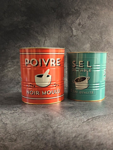 salt and pepper storage tins