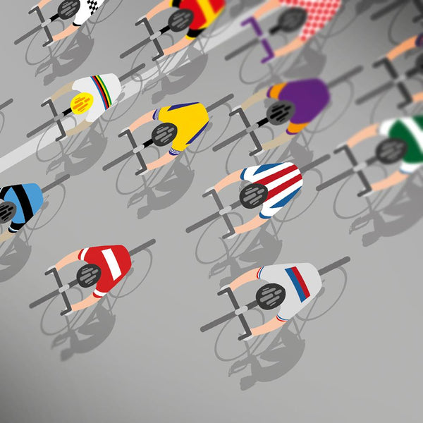 Shirts of the Peloton 2 - Cycling Poster Print featuring iconic retro and contemporary cycling jerseys including Molteni, Peugeot, Mapei, Brooklyn, Carpano and Legnano