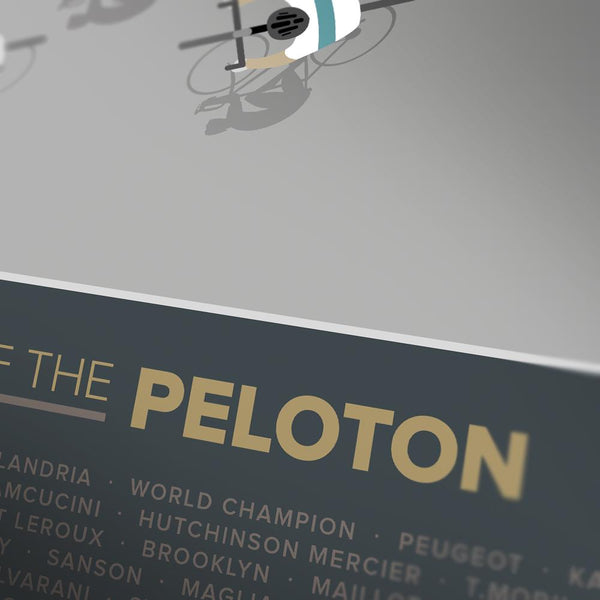 Shirts of the Peloton 2 - Cycling Poster Print featuring iconic retro and contemporary cycling jerseys including Molteni, Peugeot, Mapei, Faema, Gazzola, Flandria and Kas
