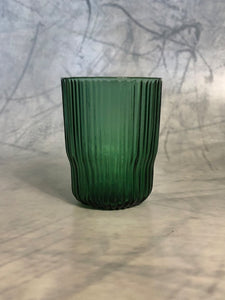ribbed glass tumbler