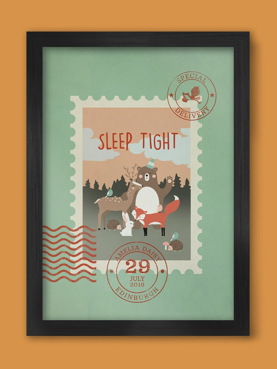 Sleep Tight (Special Delivery)  - Baby/child Birth Date Personalised Poster Print